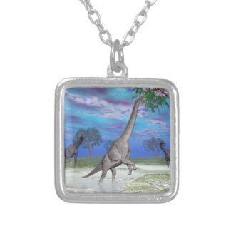 Brachiosaurus dinosaur eating - 3D render Silver Plated Necklace