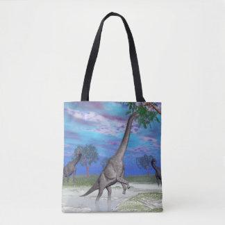 Brachiosaurus dinosaur eating - 3D render Tote Bag