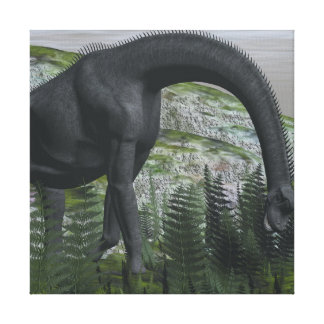 Brachiosaurus dinosaur eating fern - 3D render Canvas Print