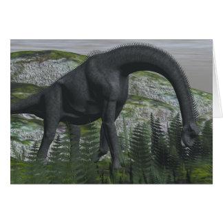 Brachiosaurus dinosaur eating fern - 3D render Card