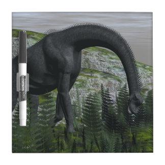 Brachiosaurus dinosaur eating fern - 3D render Dry Erase Boards