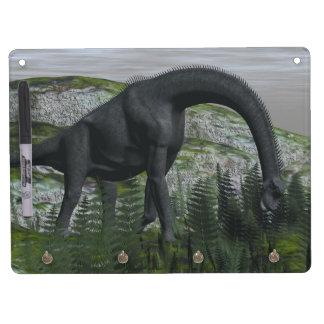 Brachiosaurus dinosaur eating fern - 3D render Dry-Erase Boards