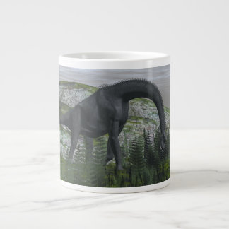Brachiosaurus dinosaur eating fern - 3D render Large Coffee Mug