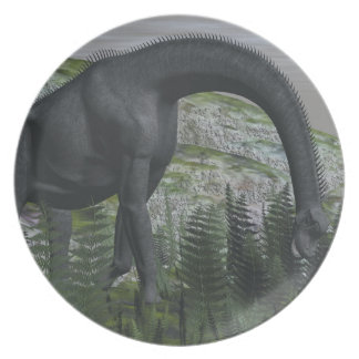 Brachiosaurus dinosaur eating fern - 3D render Party Plates