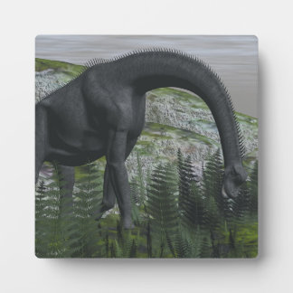 Brachiosaurus dinosaur eating fern - 3D render Plaque