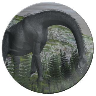 Brachiosaurus dinosaur eating fern - 3D render Porcelain Plates