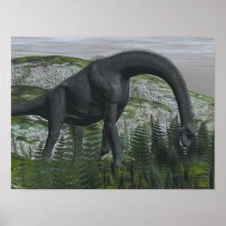 Brachiosaurus dinosaur eating fern - 3D render Poster