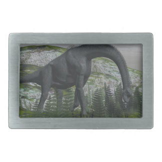 Brachiosaurus dinosaur eating fern - 3D render Rectangular Belt Buckles