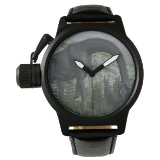 Brachiosaurus dinosaur eating fern - 3D render Wrist Watch