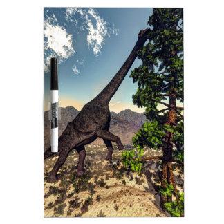 Brachiosaurus dinosaur eating wollomia pine dry erase board