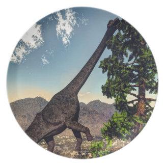 Brachiosaurus dinosaur eating wollomia pine plates