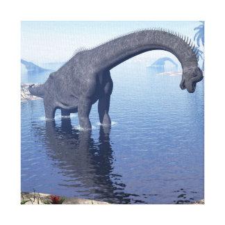 Brachiosaurus dinosaur in water - 3D render Canvas Print