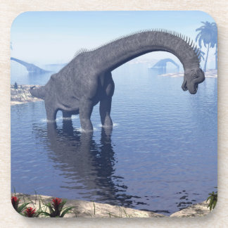 Brachiosaurus dinosaur in water - 3D render Coaster