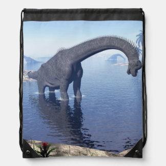 Brachiosaurus dinosaur in water - 3D render Drawstring Bag