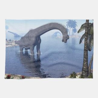 Brachiosaurus dinosaur in water - 3D render Kitchen Towel
