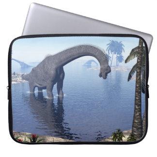 Brachiosaurus dinosaur in water - 3D render Laptop Sleeve