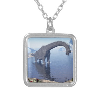 Brachiosaurus dinosaur in water - 3D render Silver Plated Necklace