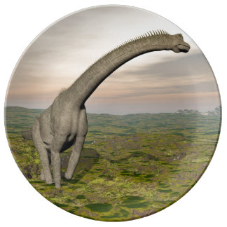 Brachiosaurus dinosaur walking - 3D render Porcelain Plates