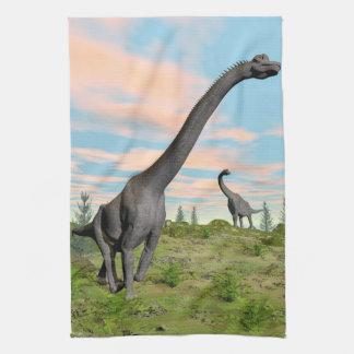 Brachiosaurus dinosaurs - 3D render Kitchen Towel