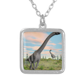 Brachiosaurus dinosaurs - 3D render Silver Plated Necklace