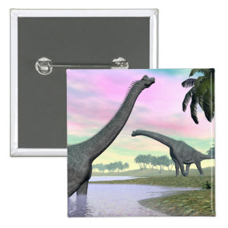 Brachiosaurus dinosaurs in nature - 3D render 2 Inch Square Button