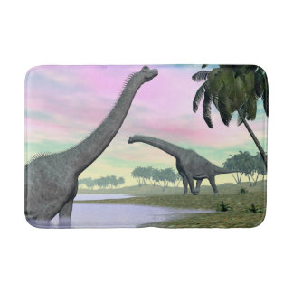 Brachiosaurus dinosaurs in nature - 3D render Bath Mat
