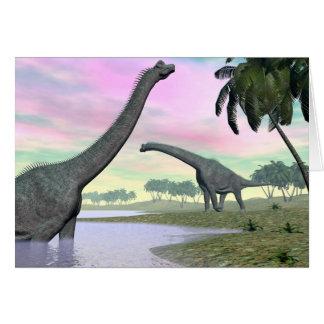 Brachiosaurus dinosaurs in nature - 3D render Card