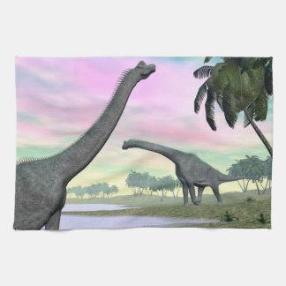 Brachiosaurus dinosaurs in nature - 3D render Kitchen Towel