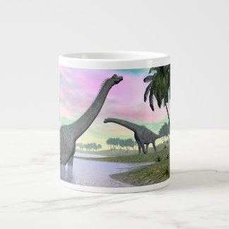 Brachiosaurus dinosaurs in nature - 3D render Large Coffee Mug