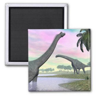 Brachiosaurus dinosaurs in nature - 3D render Magnet