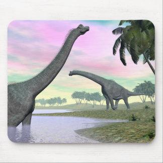 Brachiosaurus dinosaurs in nature - 3D render Mouse Pad