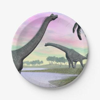 Brachiosaurus dinosaurs in nature - 3D render Paper Plate