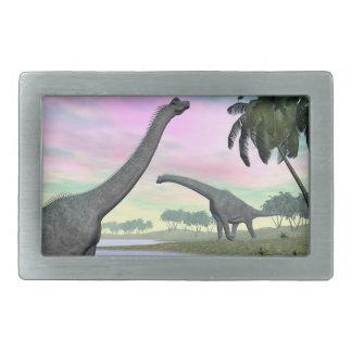 Brachiosaurus dinosaurs in nature - 3D render Rectangular Belt Buckles