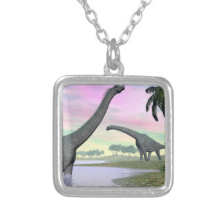 Brachiosaurus dinosaurs in nature - 3D render Silver Plated Necklace