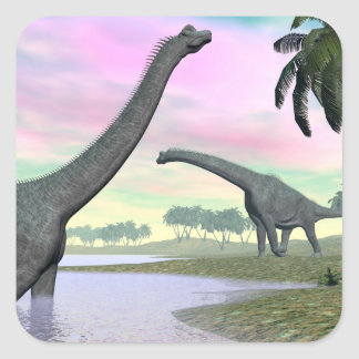Brachiosaurus dinosaurs in nature - 3D render Square Sticker