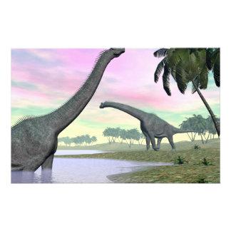 Brachiosaurus dinosaurs in nature - 3D render Stationery
