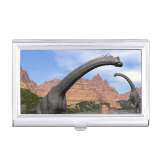 Brachiosaurus dinosaurs in water - 3D render Business Card Holder