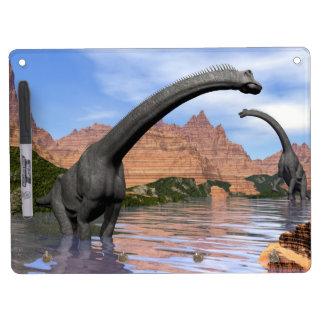 Brachiosaurus dinosaurs in water - 3D render Dry Erase Board With Keychain Holder