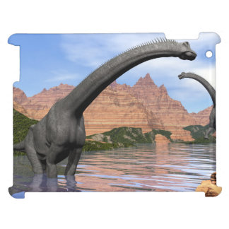 Brachiosaurus dinosaurs in water - 3D render iPad Cases