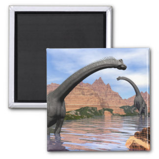 Brachiosaurus dinosaurs in water - 3D render Magnet