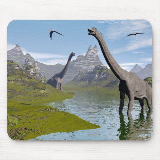 Brachiosaurus dinosaurs in water - 3D render Mouse Pad