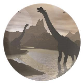 Brachiosaurus dinosaurs in water - 3D render Plate