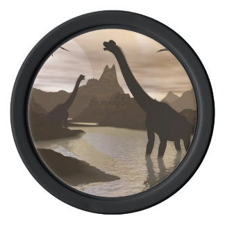 Brachiosaurus dinosaurs in water - 3D render Poker Chip Set