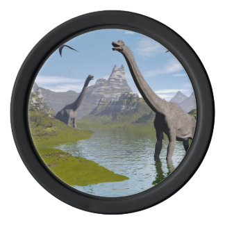 Brachiosaurus dinosaurs in water - 3D render Poker Chips