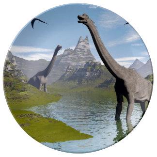 Brachiosaurus dinosaurs in water - 3D render Porcelain Plates