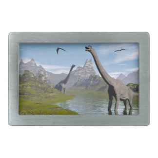 Brachiosaurus dinosaurs in water - 3D render Rectangular Belt Buckle