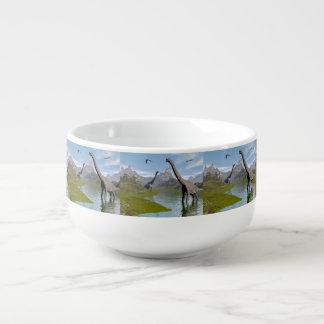 Brachiosaurus dinosaurs in water - 3D render Soup Mug