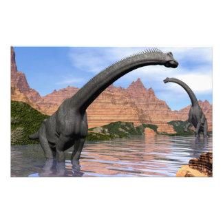 Brachiosaurus dinosaurs in water - 3D render Stationery