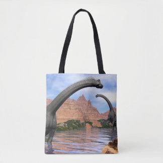 Brachiosaurus dinosaurs in water - 3D render Tote Bag