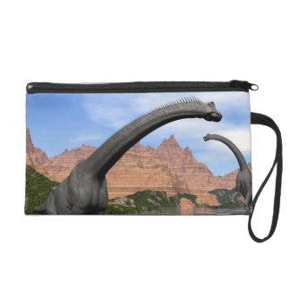 Brachiosaurus dinosaurs in water - 3D render Wristlet